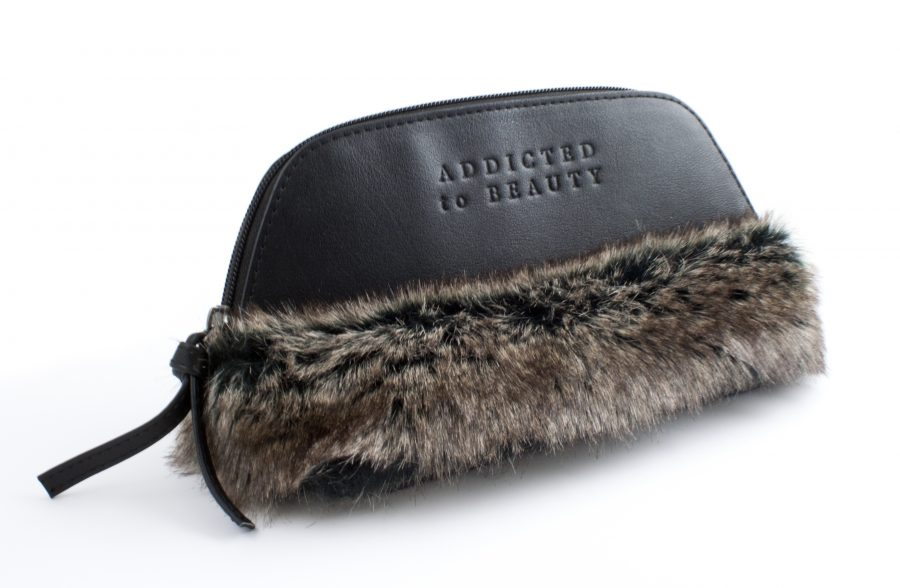 FAUX FUR COSMETIC BAG