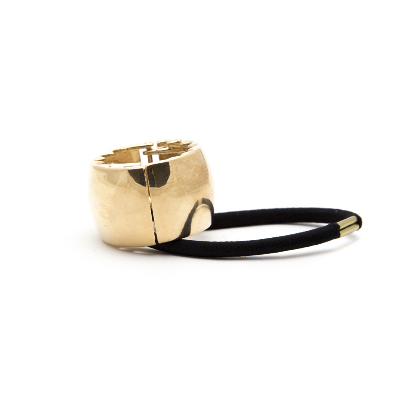 Metal ring elastic gold