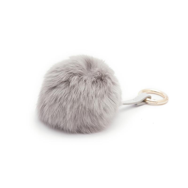 Faux fur keychain Grey